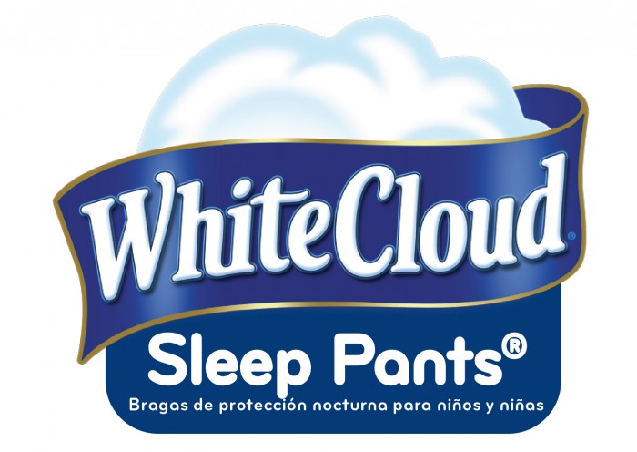 white cloud sleep pant logo