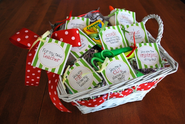 School Supplies Basket Teacher Appreciation Gift