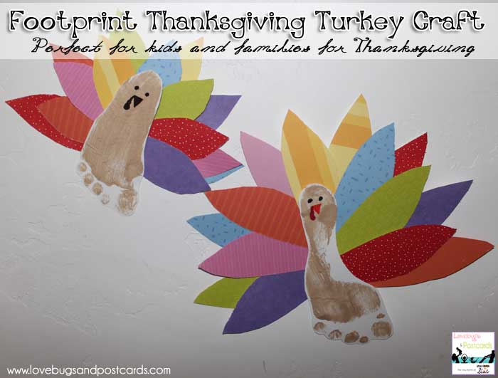 Footprint thanksgiving turkey craft for Turkey country arts and crafts