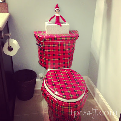 Elf on the Shelf Ideas - Wrapped Toilet