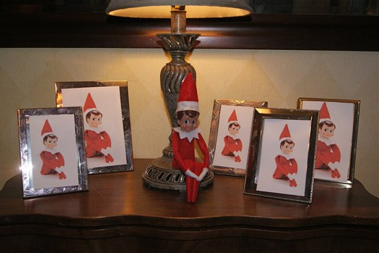 Elf on the Shelf Ideas - Replace Family Photos