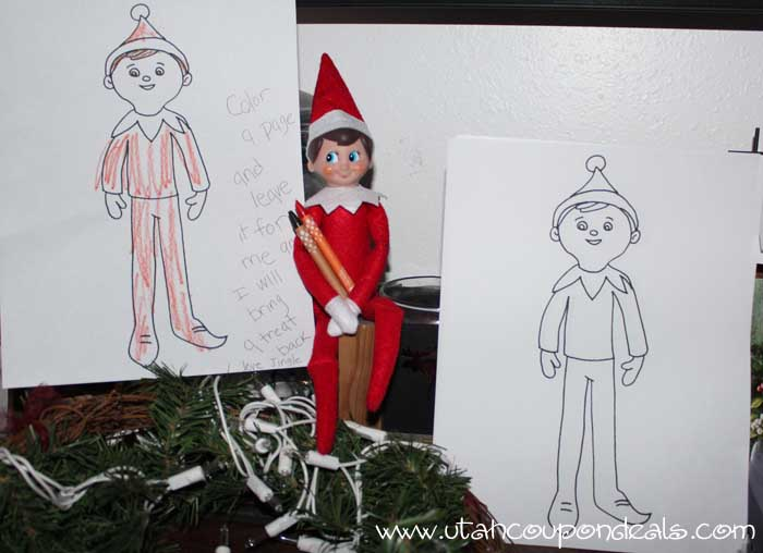 Elf on the Shelf Ideas - Printable Coloring Page for a treat