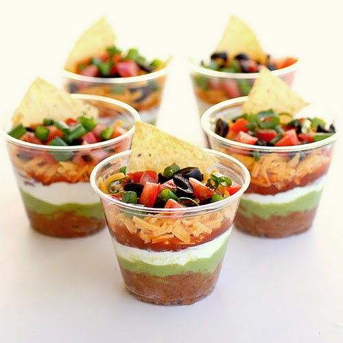 15 Super Bowl Party Ideas - Seven Layer Dip Cups