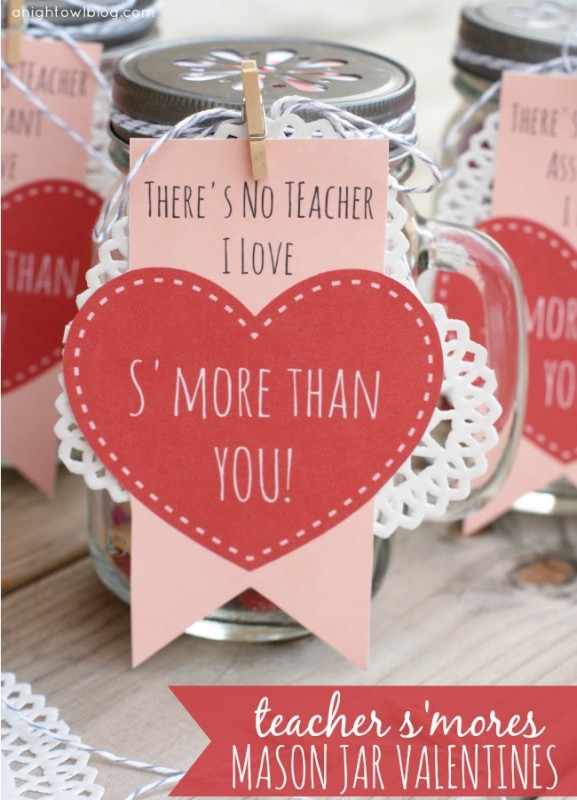 Teacher S'mores Mason Jar Valentines