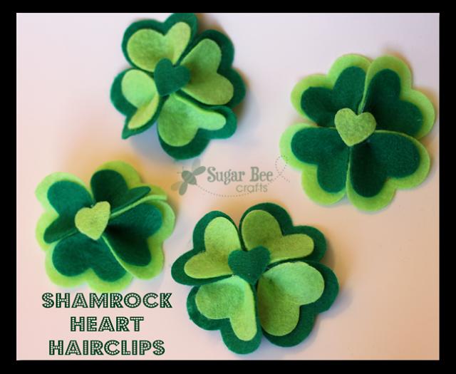 DIY Shamrock Heart Hairclips