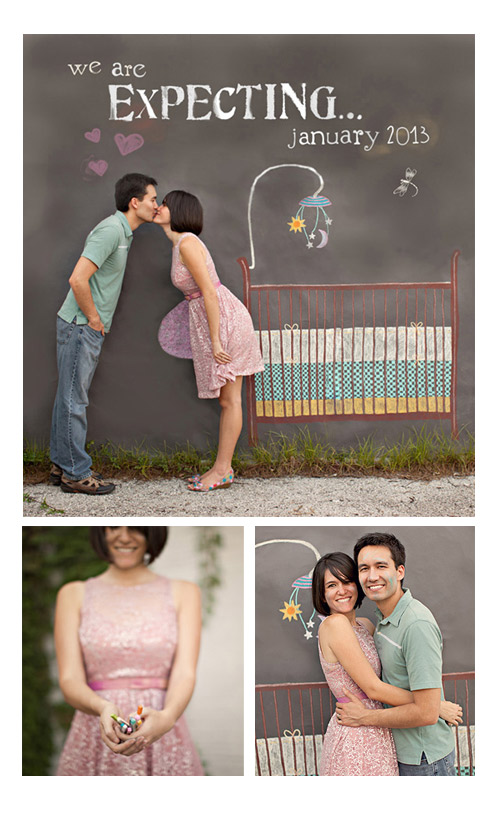 Creative ways to announce pregnancy - Chalk Drawing