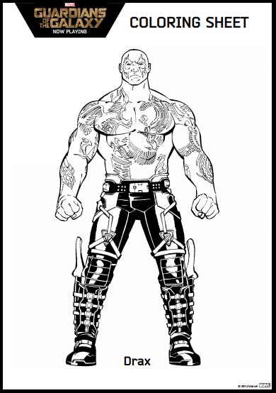 Guardians of the Galaxy Coloring Pages Drax