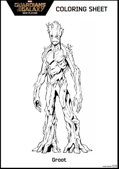 Guardians of the galaxy coloring pages and activity kit for Groot coloring pages