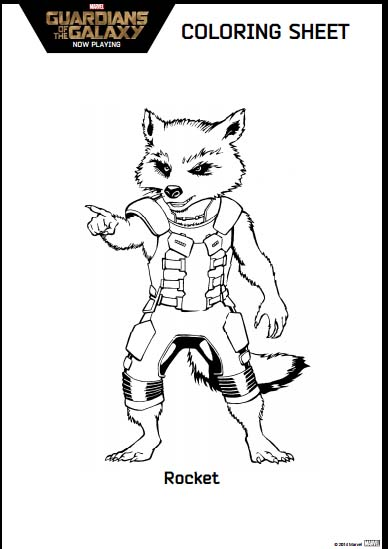 Guardians of the Galaxy Coloring Pages Rocket