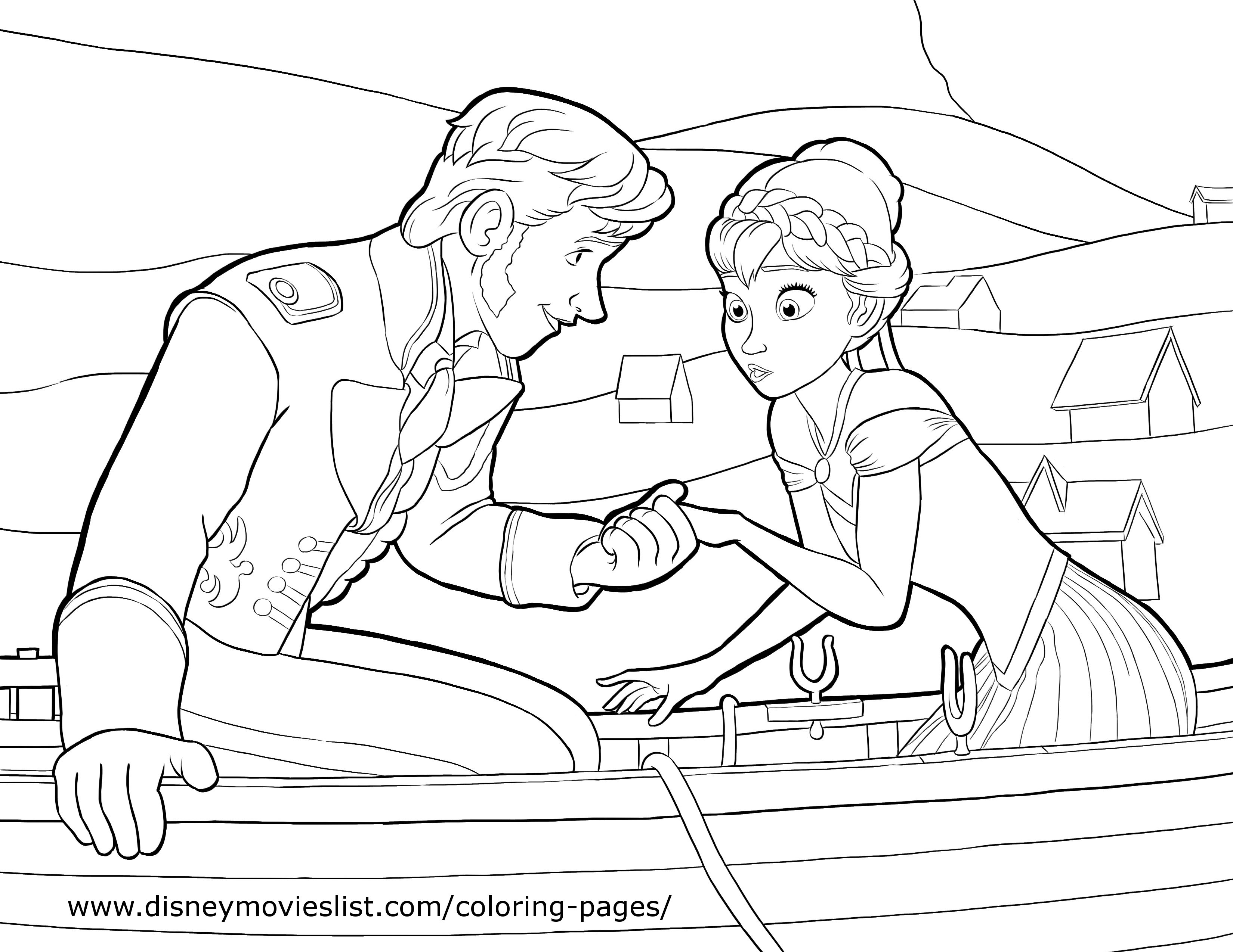 Frozen anna amp prince hans coloring page lovebugs and postcards
