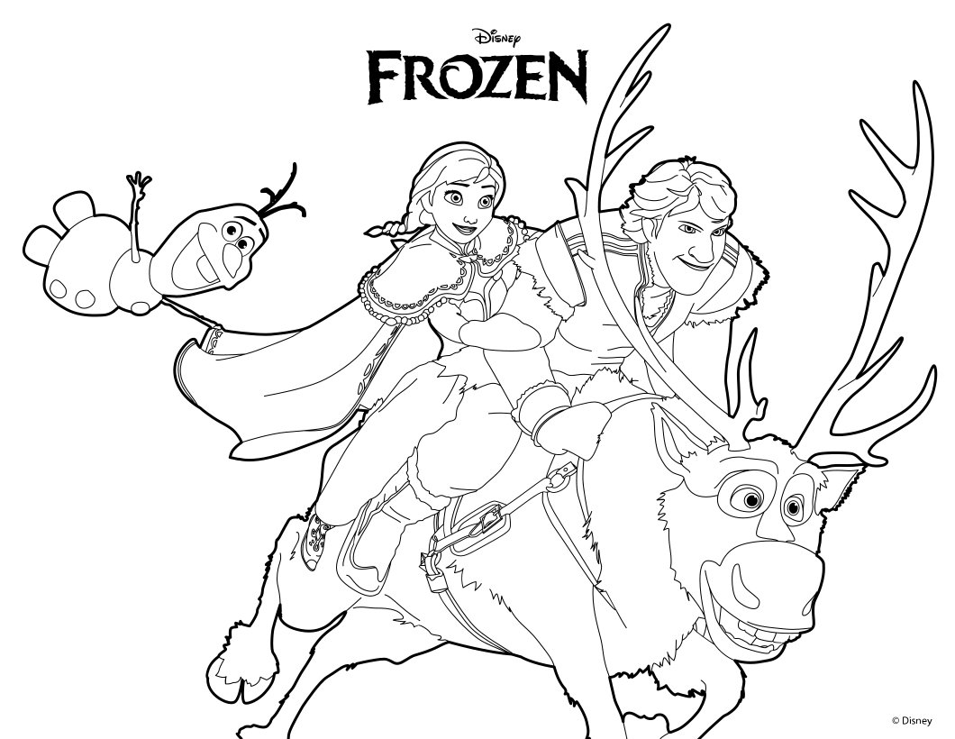 Disney frozen coloring pages lovebugs and postcards for Sven coloring pages