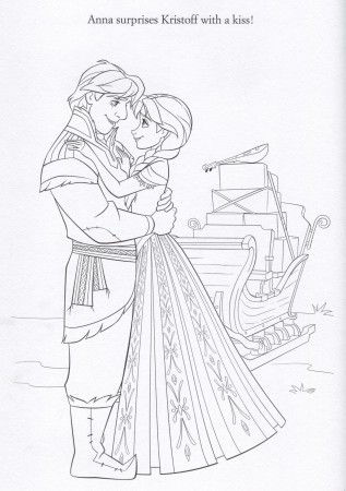 FROZEN Anna & Kristoff Coloring Page