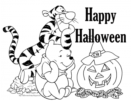 Tigger and Pooh  - Free Disney Halloween Coloring Pages