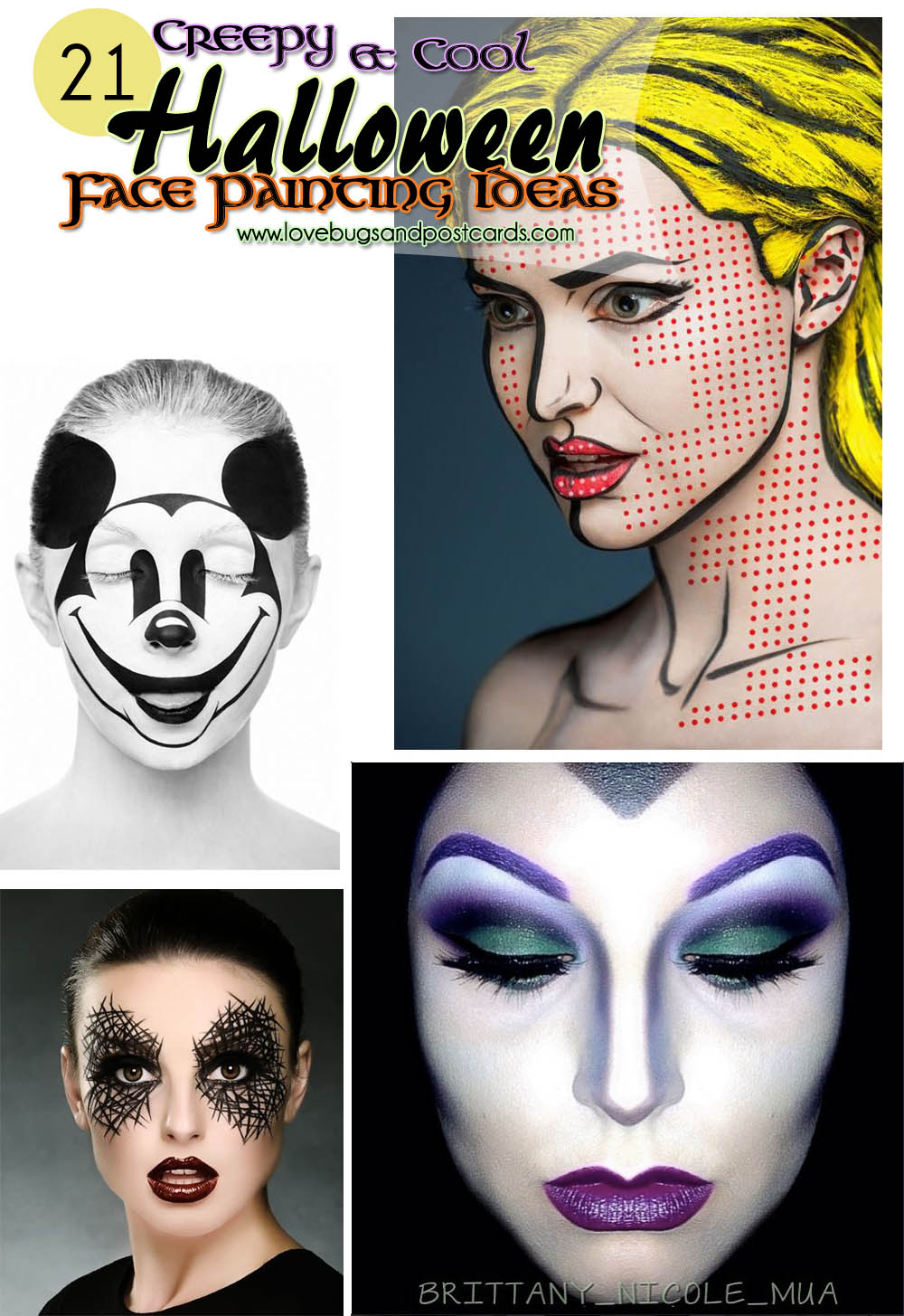 21 Creepy And Cool Halloween Face Painting Ideas Lovebugs And Postcards