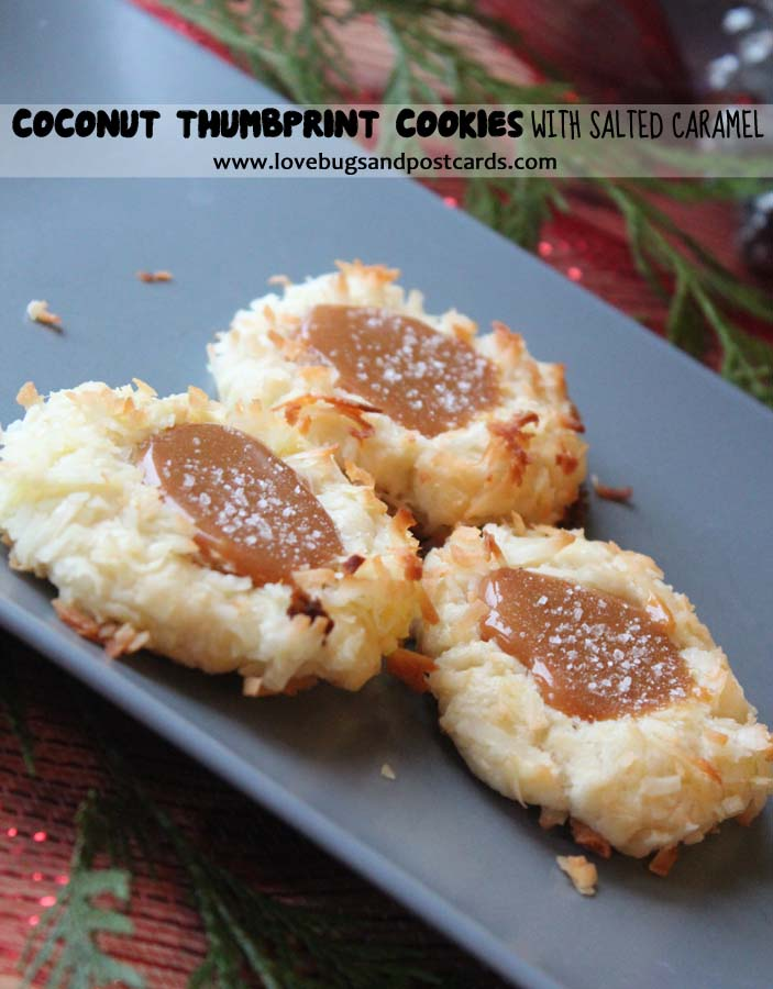 Coconut Thumbprint Cookies with Salted Caramel #TasteTheSeason