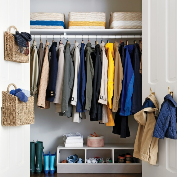 Use bins, baskets, and hanging baskets to keep items organized