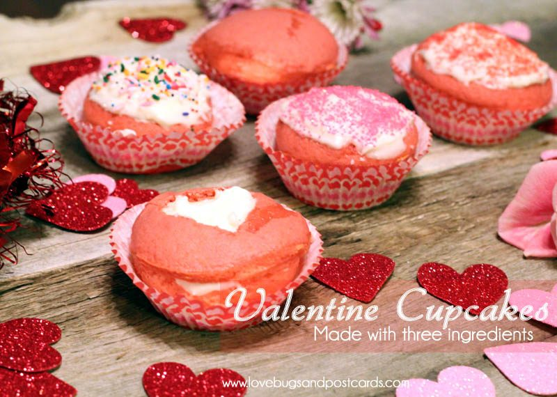 Valentine Cupcakes Recipe (2 ingredients)