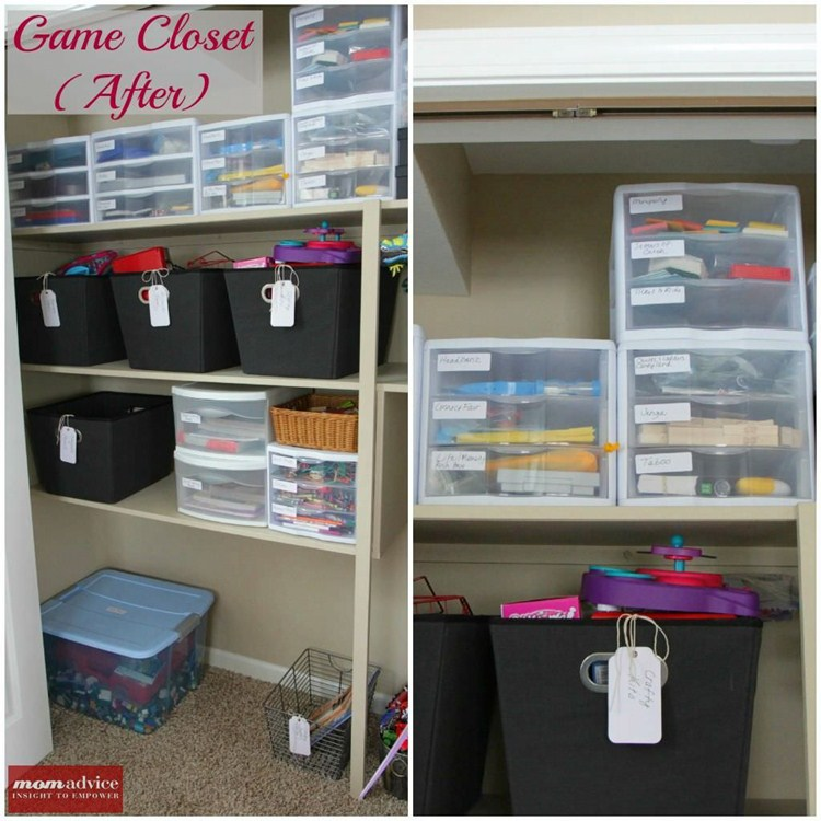Using drawers to organize games with boxes for your cards