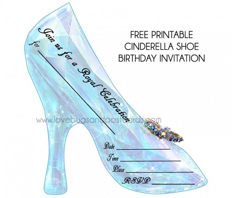 Cinderella Birthday Invitation Inspired by the Glass Slipper from the new live action Disney's Cinderella Movie.