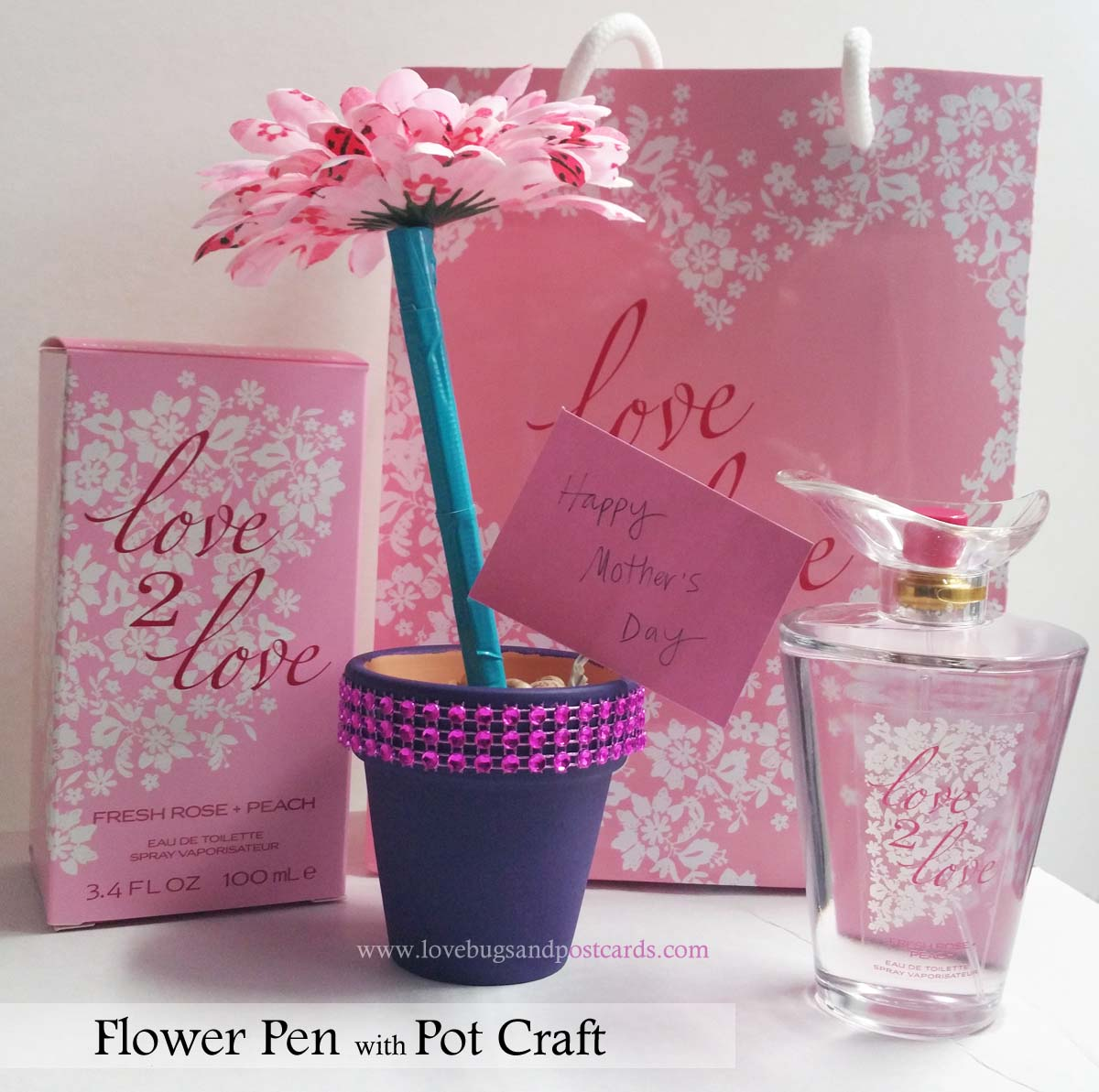 Flower pen and pot craft lovebugs and postcards