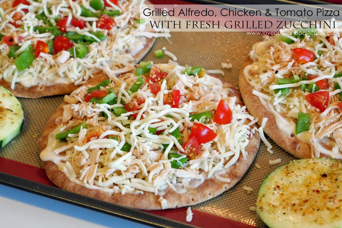 Grilled Alfredo, Chicken & Tomato Pizza with fresh Grilled Zucchini