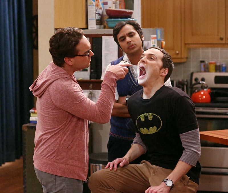"""The Junior Professor Solution"" -- When Sheldon is forced to teach a class, Howard surprises everyone by taking it, on THE BIG BANG THEORY, Monday, Sept. 22, 2014 (8:30-9:00 PM, ET/PT), on the CBS Television Network. Pictured left to right: Johnny Galecki, Kunal Nayyar and Jim Parsons Photo: Michael Ansell/CBS ©2014 CBS Broadcasting, Inc. All Rights Reserved"