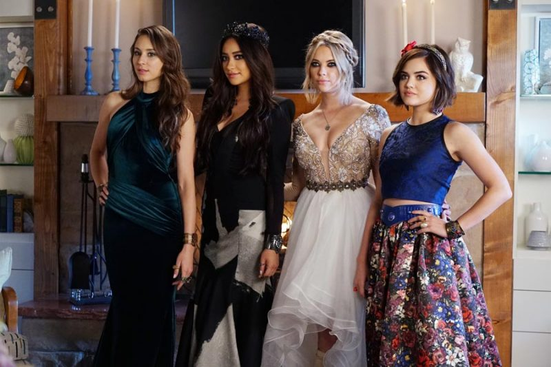 "PRETTY LITTLE LIARS - ""Last Dance"" - It is prom time at Rosewood High, except for Alison, Aria, Emily, Hanna and Spencer who have been banned due to ""security"" concerns. As the girls see this as the final humiliating blow to their high school careers the girls' mothers try to make the best of a bad situation by offering a home prom in Spencer's barn. At first reluctant, the PLLs agree and try to make the best out of a bad situation. But one to never miss a formal, Charles has other plans in store to make this a night they will never forget. Meanwhile, Veronica, Pam, Ashley and Ella use prom night to touch base on everything that has happened to their daughters, on an all-new episode of ABC Family's hit original series ""Pretty Little Liars,"" airing Tuesday, August 4th (8:00 - 9:00 PM ET/PT). (ABC Family/Eric McCandless) TROIAN BELLISARIO, SHAY MITCHELL, ASHLEY BENSON, LUCY HALE"