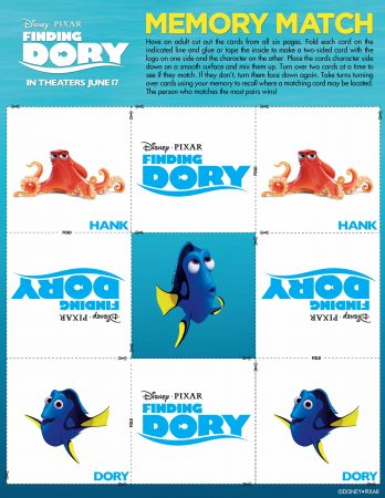 Finding Dory Memory Match Activity
