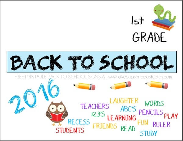 Printable Back to School signs First Grade