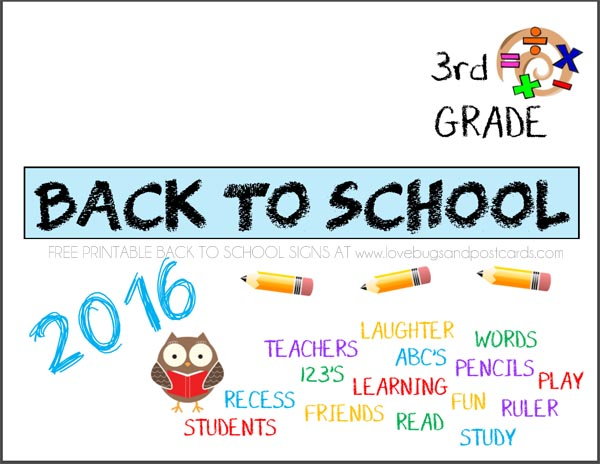 Printable Back to School signs Third Grade