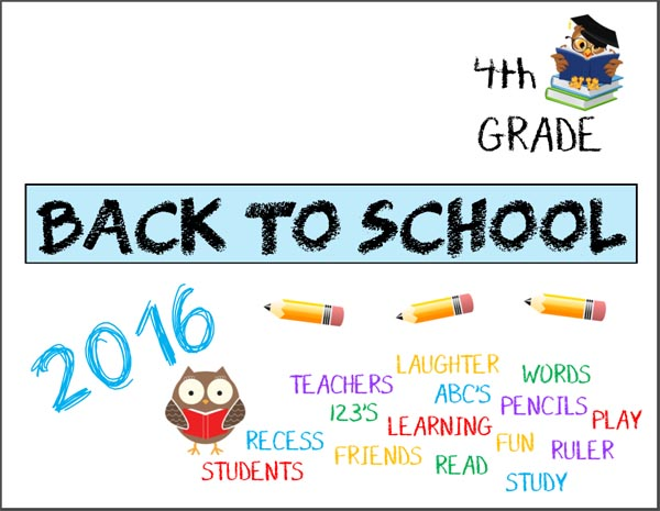 Printable Back to School signs Fourth Grade