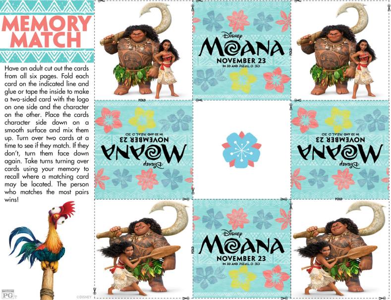 Disney's MOANA Memory Match Game