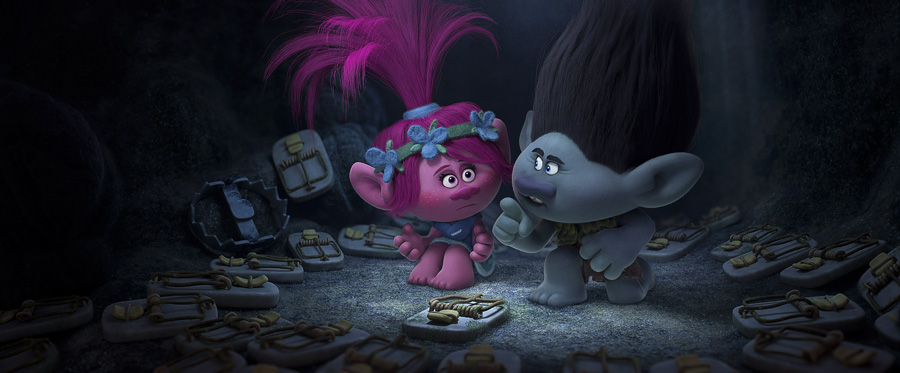 TRL_sq800_s26_f201_4k_final_RGB_FIN – Troll princess Poppy (Left; voiced by Anna Kendrick) is introduced to overly cautious paranoid survivalist Branch's (Right; voiced by Justin Timberlake) fear bunker in DreamWorks Animation's TROLLS. Photo Credit: DreamWorks Animation.