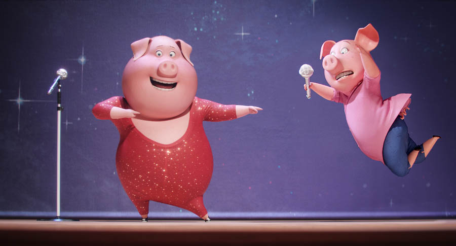 NICK KROLL voices boisterous German pig Gunter and Academy Award® winner REESE WITHERSPOON voices overtaxed mother Rosita in the event film Sing, from Illumination Entertainment and Universal Pictures.