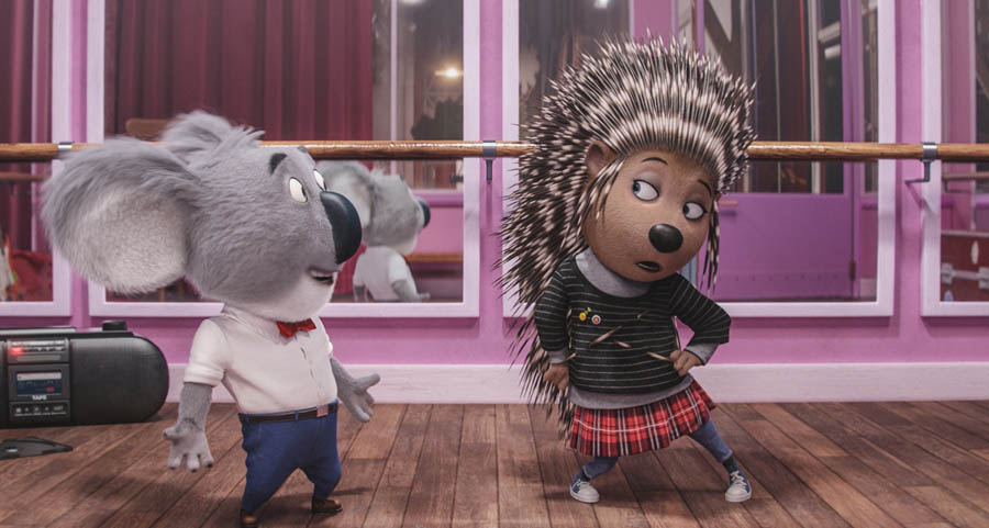 Academy Award® winner MATTHEW MCCONAUGHEY as dapper koala Buster Moon and SCARLETT JOHANSSON as Ash, a punk-rock porcupine struggling to shed her arrogant boyfriend and go solo, in the event film Sing, from Illumination Entertainment and Universal Pictures.